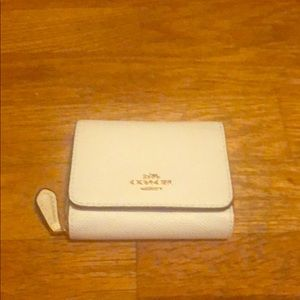 Coach chalk color tri-fold wallet with coin holder